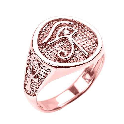 Men's Polished 14k Rose Gold Eye of Horus Ring with Egyptian Ankh Crosses (Size 15)