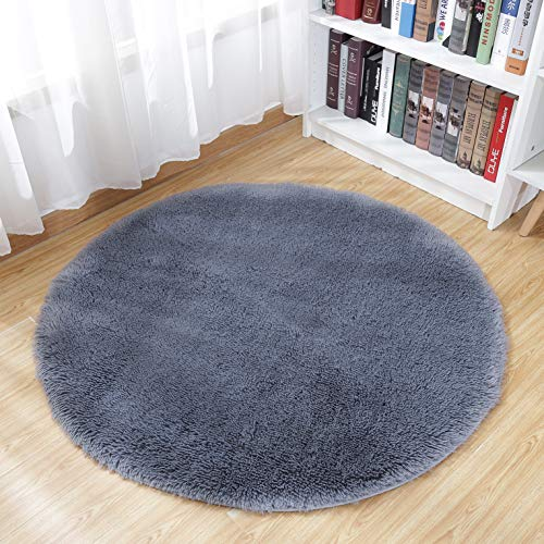 Junovo Round Fluffy Soft Area Rugs Kids Room Children Room Girls Room Nursery,Diameter 4-Feet,Gray
