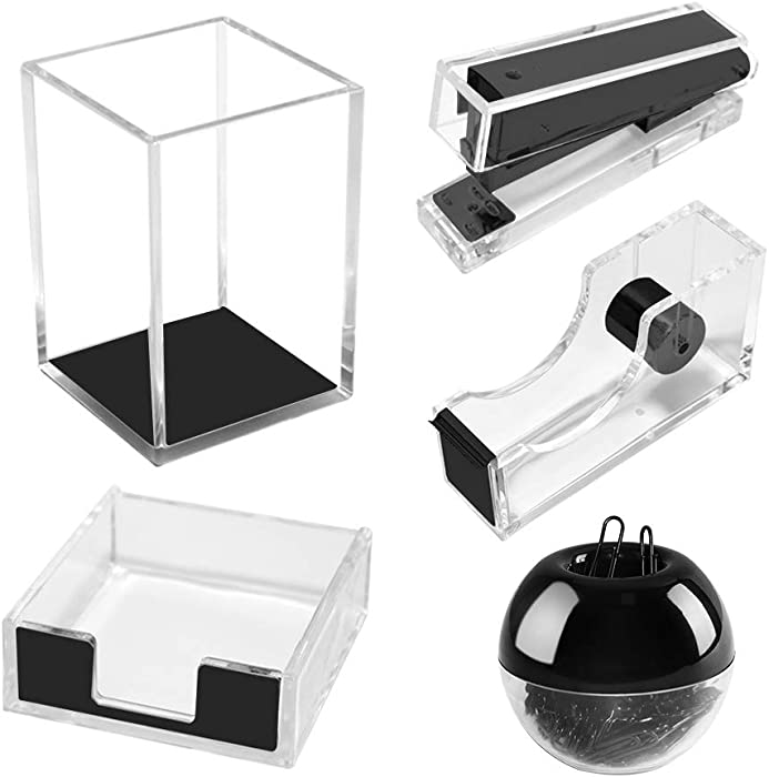 Acrylic Office Supplies Desk Organizer Set Tape Dispenser Stapler Sticky Notes Tray Magnetic Paper Clips Dispenser Pen Pencil Holder Desktop Decor (Lucid Black)