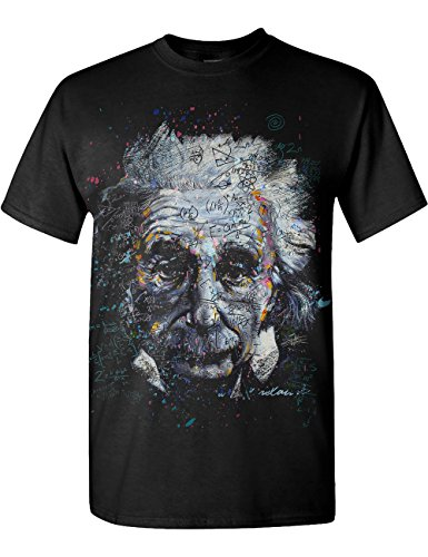 Albert Einstein - Its All Relative - Adult T-Shirt (Large ,Black)