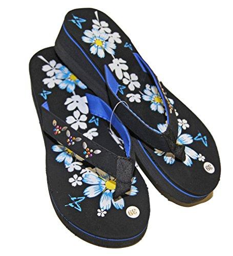 Latschen sandalen flip flops keilabsatz frau pierre-cedric Schwarz - Blau