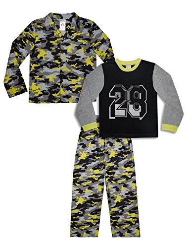 Mad Dog Boy's 3-Piece Pajama Set – Camo and Sports Prints (Black/Yellow Camo, Medium (8)) (Sleep Pant Boys Fleece)