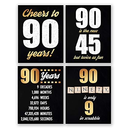 8x10 90th Birthday Decoration - Set of 4 Art Prints For Men and Women // Cheers to 90 Years Sign // Black and Gold