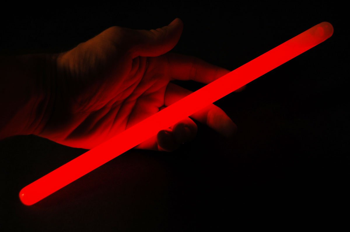 Set of 6 12inch 15mm Grande RED 12 Hour Safety Glow Sticks