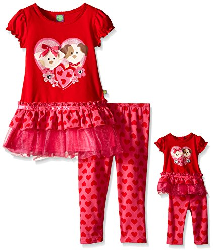 Dollie & Me Big Girls' Knit To Woven hearts and Puppies Dress With Legging, Red/Fuchsia, 10 (Big Dolly Red)