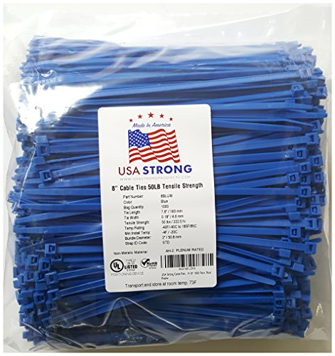 "8"" Cable Ties. Premium Nylon Wire Management Zip-ties. Several colors available in 1,000 piece pack or Bulk Wholesale Case Quantity. 50 LB Tensile. USA Strong Cable Ties (8"
