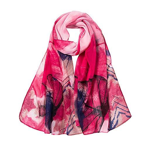 LIULIULIU Fashion Fantasy Women Leaves Printing Long Soft Wrap Scarf Ladies Shawl Scarves (Red) (Soft Scarf Floral)
