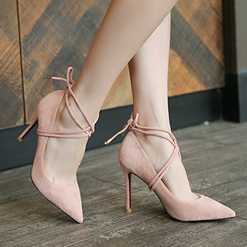 Xue Qiqi Hochhackige Schuhe Mädchen mit hohen Absätzen Mädchen Schuhe feine, helle - wilde satin mit schwarzer Spitze in der Frauen singles Schuhe, 40, pink, 9 cm - e094d8