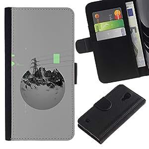 Be-Star la tarjeta de Crédito Slots PU Funda de cuero Monedero caso cubierta de piel Para Samsung Galaxy S4 IV I9500 ( Power Mountains Abstract Sphere Grey )