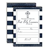 Navy and Silver Stripes First Holy Communion Religious Party Invitations, Ten 5''x7'' Fill In Cards with 10 White Envelopes by AmandaCreation