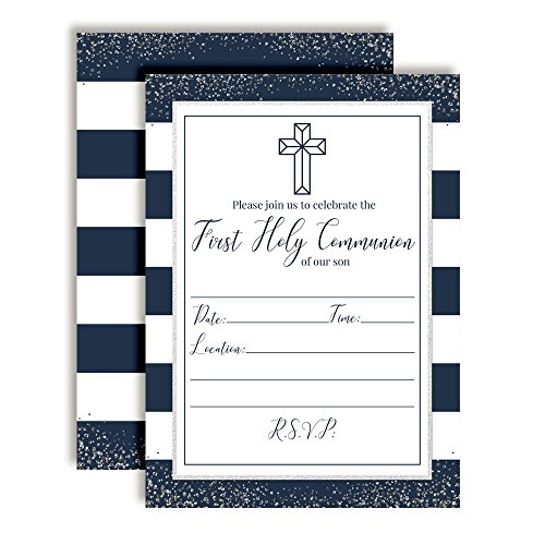 Navy and Silver Stripes First Holy Communion Religious Party Invitations, 20 5