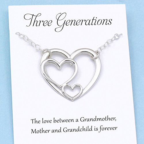 Adoption Birth Announcements - Three Generations of Love Sterling Silver Heart Keepsake Necklace Grandmother, Mother, Daughter/Son Jewelry Gift for Mom Grandma Grandchild