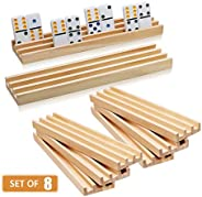 Wooden Domino Racks Set of 8 - Exqline Premium Domino Trays Holders Organizer for Mexican Train Chickenfoot and Other Domino