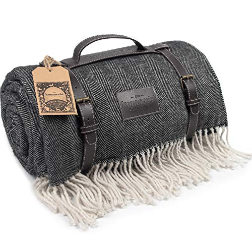 """(Large Waterproof Picnic Blanket - Leather Carrier, Luxurious Soft Wool Blend, Herringbone, Sand-Proof Beach Mat, Camping, Hiking, Festivals, Park - Gift Box, Adult, Children, 78"""" x 59"""" (Grey))"""