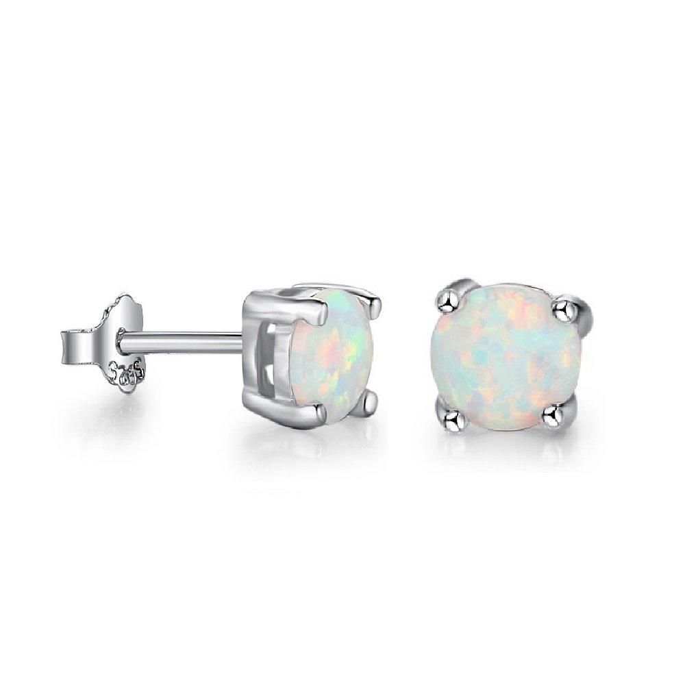 Lam Sence Sterling Silver 5mm Round White Opal Earrings