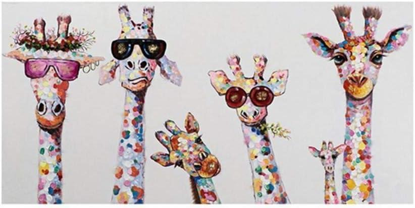 Graffiti Art Animal Canvas Painting con gafas Jirafas Family Poster Prints Cuadro decorativo para decoración de la habitación de los niños 80x120cm (31.5