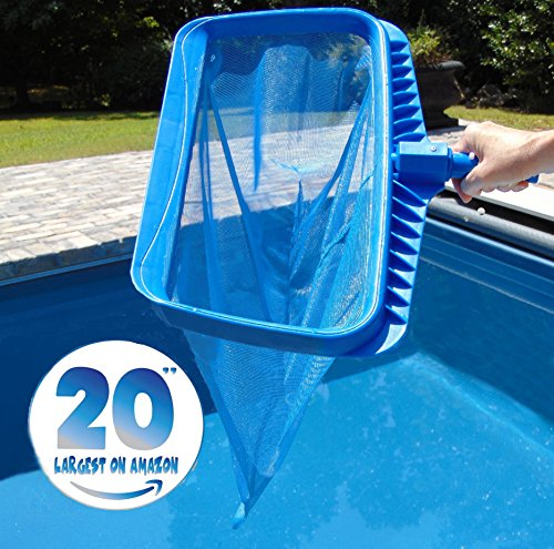 Large Swimming Pool (Swimming Pool Skimmer Net by SwimPur Fine Mesh Deep Bag Leaf Catcher Cleaner Extra Large for Faster Cleaning 20 Inch Wide)