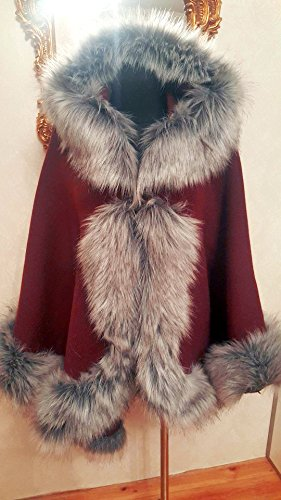 Elegant red and silver half-woolen cloak with high quality faux fur by ScarecrowStudio