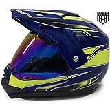 SmartDealsNow DOT Youth & Kids Helmet for Dirtbike ATV Motocross MX Offroad Motorcyle Street bike Helmet (Small, Blue & Green)