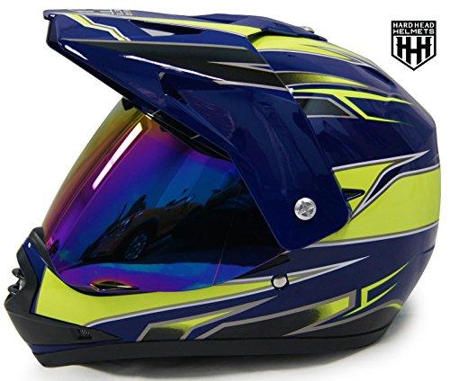 SmartDealsNow - HHH DOT Youth & Kids Helmet for Dirtbike ATV Motocross MX Offroad Motorcyle Street bike Snowmobile Helmet with VISOR (X-Large, Blue & Green)
