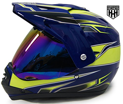 SmartDealsNow DOT Youth & Kids Helmet for Dirtbike ATV Motocross MX Offroad Motorcyle Street bike Helmet (Small, Blue & Green) ()