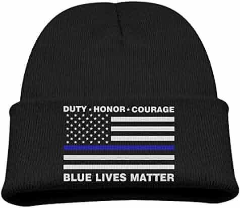 Kid s Beanie Hat Blue Lives Matter Police Blue Line Us Flag Skull Cap In 4  Colors cb8cd094f355