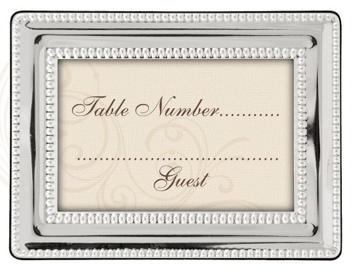 Malden International Designs Wedding Place Card Holders Silver Bead Picture Frame, 2x3, Silver