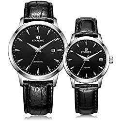 STARKING Lover Couple Watches Men and Women Black Leather Strap # AM0184SL22_AL0184SL22