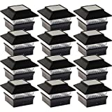 12 Pack Solar Power Square Outdoor Post Cap Lights for 4x4 PVC Posts (Black)