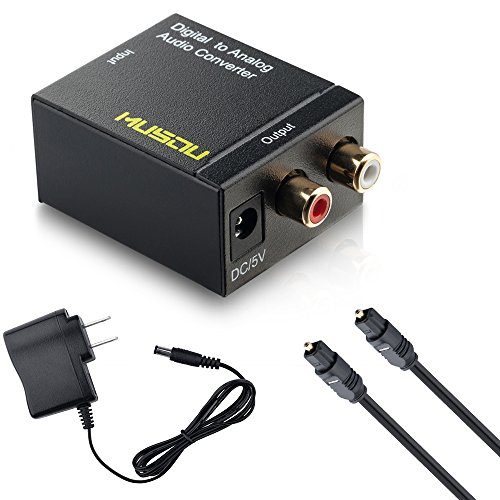 Musou Digital Optical Coax to Analog RCA Audio Converter Adapter with Fiber Cable (Output Digital Optical)