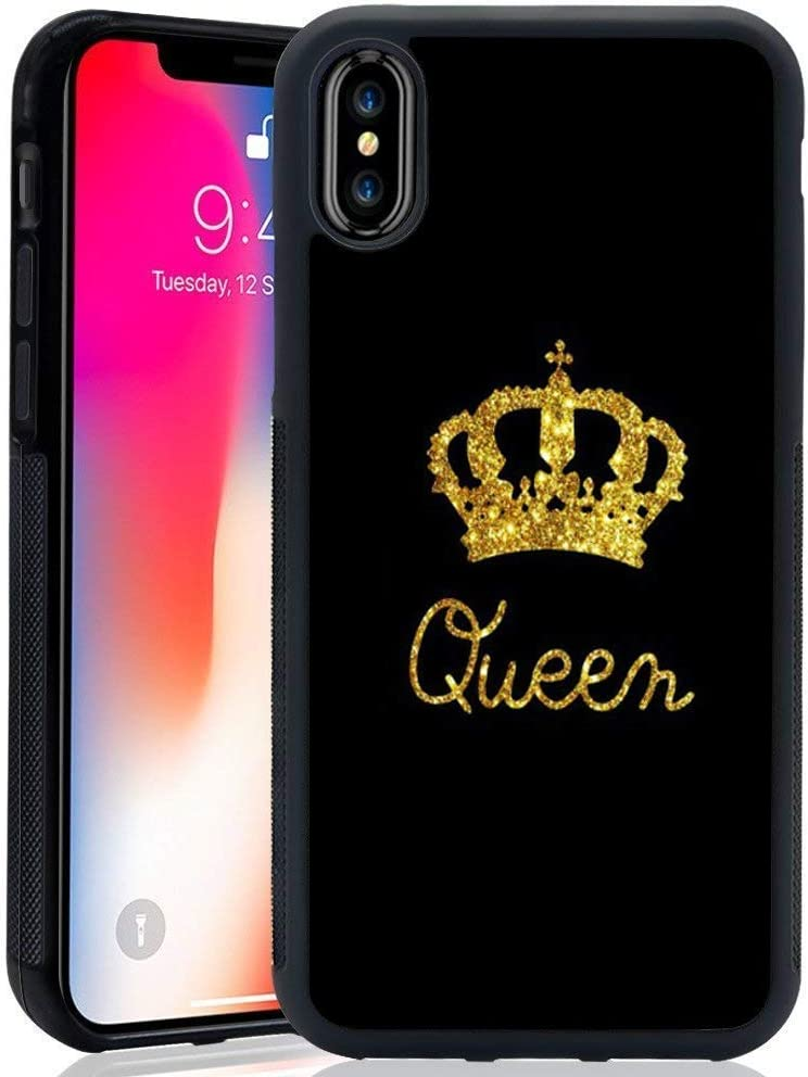 for iPhone X Case King Queen Best Friend Lovers Couple Slim Fit Black Cell Phone Accessories Queen & King Design Soft TPU Protective iPhone Xs Cases (Queen for iPhone X/XS)