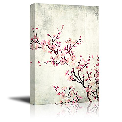 wall26 Canvas Wall Art - Watercolor Painting Style Cherry Blossom on Branch - Giclee Print Gallery Wrap Modern Home Decor Ready to Hang - 16x24 inches