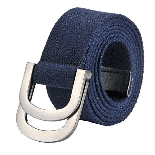 Casual Canvas Belt (Ayliss Mens Classy Double D-Ring Canvas Belt PU Leather Trimming Military Belt,Deep)