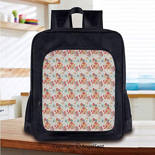 Lightweight Backpack Retro Warm Colored Plants Season Flowers Abstract Lines Circles Swirls Image Decorative School Bag for Kid Girls Boys Travel College School Bags,Coral Yellow Grey