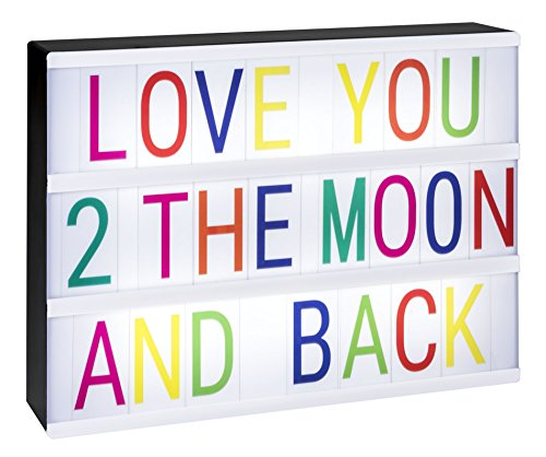 EnzZone 380 Tiles, Dimmable, Fun Cinematic Light Box, Unique Kids Night Light, Vintage Marquee Sign | Cinema Light Boxes for Kids with Changeable Letters and Fun Symbols