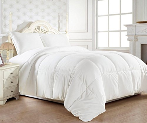 LUXURY ULTRA SOFT GOOSE DOWN COMFORTER PROVIDES MEDIUM WARMTH FOR YEAR-ROUND COMFORT , MAKE IT PERFECT FOR YOUR BEDROOM , WHITE COLOR – KING SIZE