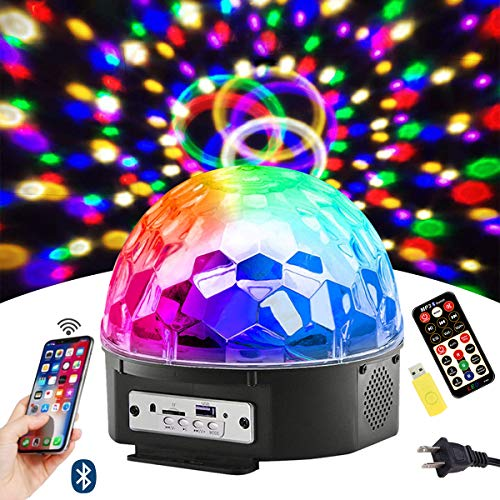 Bluetooth Disco Ball Lights, 9 Colors LED Party Lights DJ Sound Activated Rotating Lights Wireless Phone Connection with Bluetooth Speaker MP3 Play and Remote for Home KTV Wedding Dance -