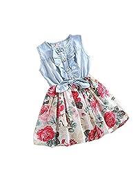 Orangeskycn Kids Girls Daisy Flower Stripe Shirt Top Bow Pant Set Clothing 2 3Y,