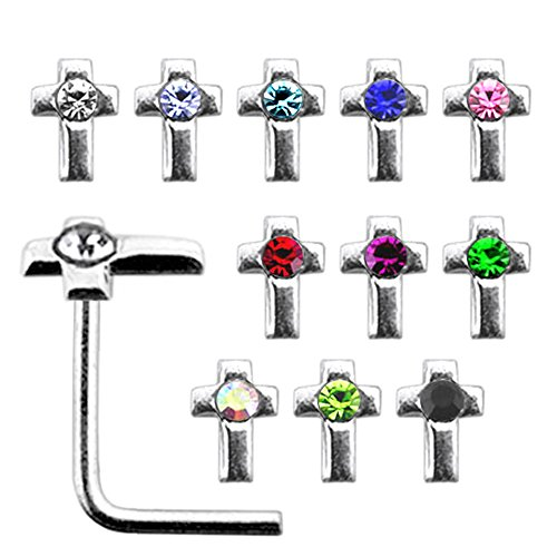 20 Pieces Box Set of Mix Colored Jeweled Cross Top 22 Gauge 925 Sterling Silver L Shape Nose Stud