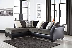 Ashley Armant 20200-16-67 Sectional Sofa with Left Arm Corner Chaise Right Arm Sofa and Eight Pillows Included in