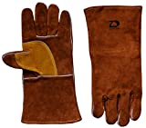 ZaoProteks ZP1708 Cowhide Leather Heat Resistant Welding Gloves,Work Gloves -For Welding/Gardening/Camping/Fireplace/Hearth/Stove/Barbecue and so on (Brown)
