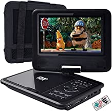 """FENGJIDA 7"""" Portable DVD Player, CD Player with Swivel Screen, Car Headrest Mount Holder, Remote Control, Long Time Rechargeable Battery, SD Card Slot and USB Port - Black"""