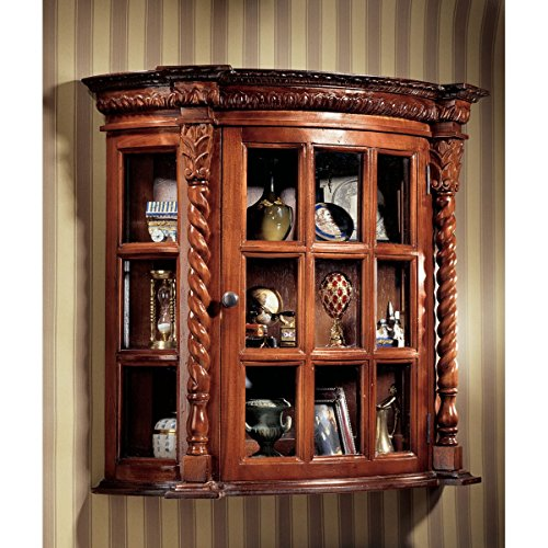Display Cabinet - Cardington Square Manor - Wall Mounted Curio Cabinet - Wood Barley Twist