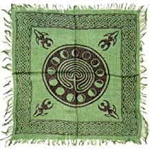 """Tarot/altar Cloth - Celtic Design with Goddess and Phases of the Moon - 18""""x 18""""."""