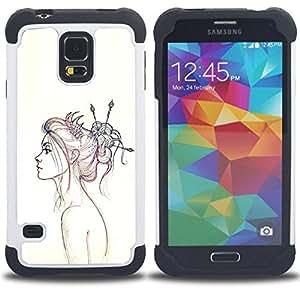 - Neon Girl Drawing/ H???¡¯????brido 3in1 Deluxe Impreso duro Soft Alto Impacto caja de la armadura Defender - SHIMIN CAO - For Samsung Galaxy S5 I9600 G9009 G9008V
