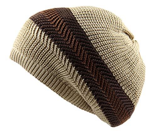 RW Knitted Slochy Cotton Classic Rasta Beanie (Khaki/Brown) (Brown Beanie Khaki)