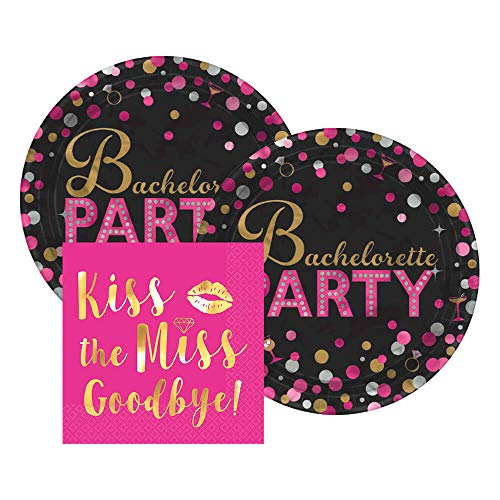 Amscan Kiss the Miss Goodbye Bachelorette Party Paper Dessert Plates and Gold Foil Beverage Napkins, 16 Servings, Bundle- 3 Items ()
