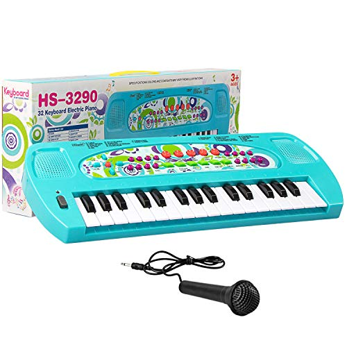 SAOCOOL Piano Keyboard, 32 Keys Multifunction Electronic Kids Toy Piano keyboard Music child piano keyboard for toddler with Microphone (Blue)