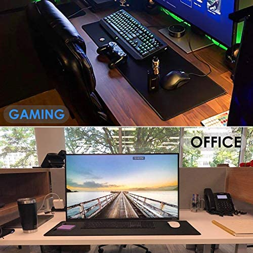 Ktrio Large Gaming Mouse Pad with Stitched Edges, Extended Mousepad with Superior Micro-Weave Cloth, Non-Slip Base, Water Resist Keyboard Pad, Desk Mat for Gamer, Office & Home, 31.5 x 11.8 in, Black