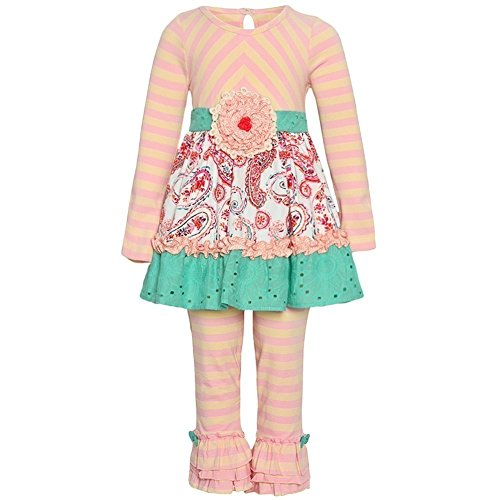 Editions Capris Rare Pink (Counting Daisies Little Girl Blush Pink Striped Paisley Flower 2 Pcs Outfit 2T)